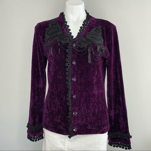 Storybook Knits | Purple Chenille Cardigan Sequin
